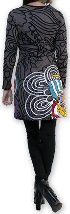 Robe courte à col V Ethnique et Colorée Tamari Gris 274522