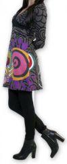 Robe courte à col V Ethnique et Colorée Tamari Gris 274523