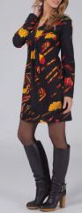 Robe courte à col V Ethnique et Glamour Lénais Noire 274961