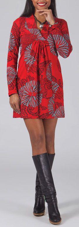 Robe courte à col V Ethnique et Glamour Lénais Rouge 274965