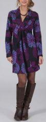Robe courte à col V Ethnique et Glamour Lénais Violette 274962
