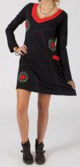 Robe courte à col V Ethnique et Originale Jordane Noire 274861
