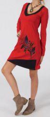 Robe courte à col V Ethnique et Originale Juline Rouge 274865