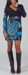 Robe courte à col V Ethnique et Originale Luana Bleue 275011