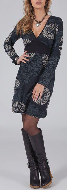 Robe courte à col V Ethnique et Originale Luana Grise 275009