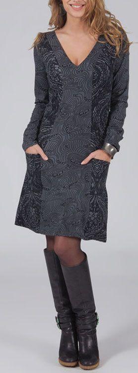 Robe courte à col V Ethnique et Originale Maélio Grise 275041