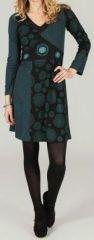 Robe courte à col V ethnique et originale Noire et Bleue Léonie 273941