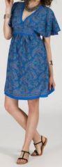 Robe courte à col V originale et ethnique Bleue Tisha 272849