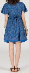Robe courte à col V originale et ethnique Bleue Tisha 272850