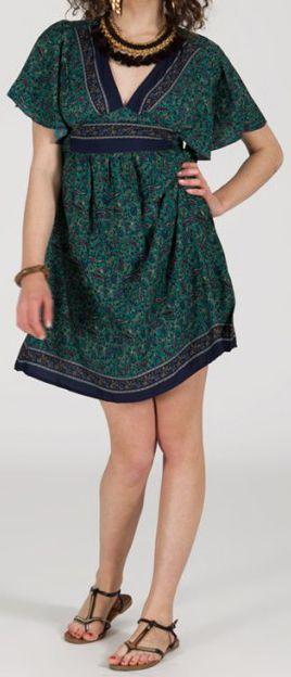 Robe courte à col V originale et ethnique Bleue/Verte Tisha 272847