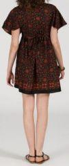 Robe courte à col V originale et ethnique Marron Tisha 272860