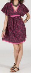 Robe courte à col V originale et ethnique Rose/Violet Tisha 272853
