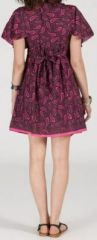 Robe courte à col V originale et ethnique Rose/Violet Tisha 272854