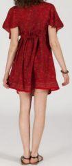 Robe courte à col V originale et ethnique Rouge Tisha 272852