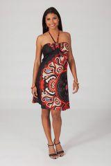 Robe courte à dos nu imprimée colorée et pas chère Marion 318741