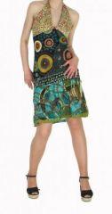 Robe courte à dos nu originale imprimée roucous noir 245159