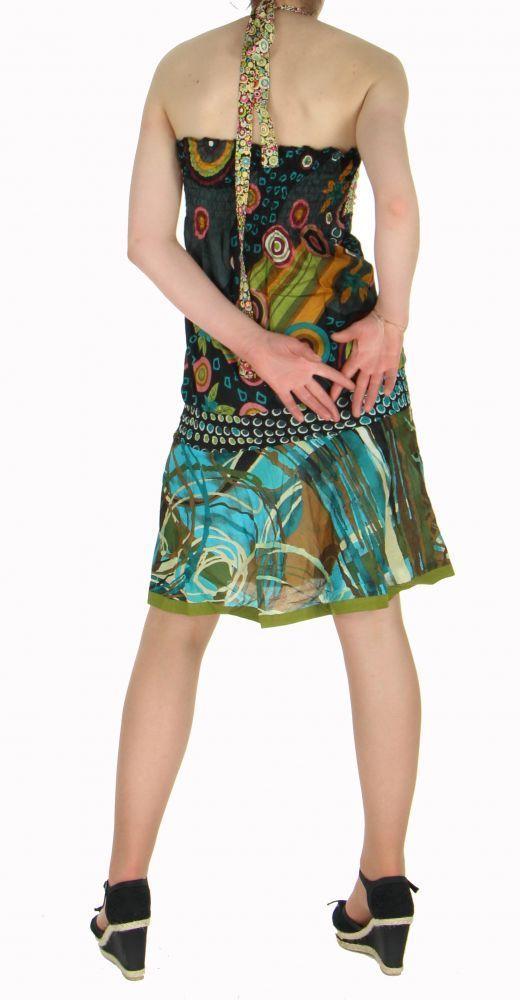 Robe courte à dos nu originale imprimée roucous noir 255192