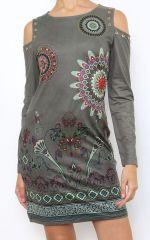 Robe courte à épaules dénudées imprimé original coloré Viky 304178