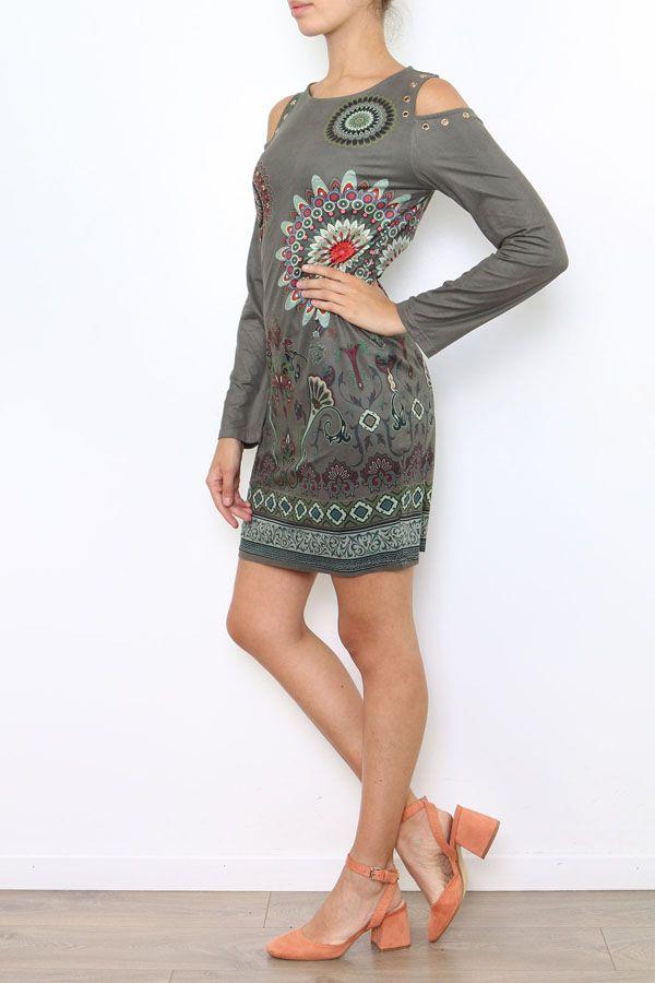 Robe courte à épaules dénudées imprimé original coloré Viky 304179