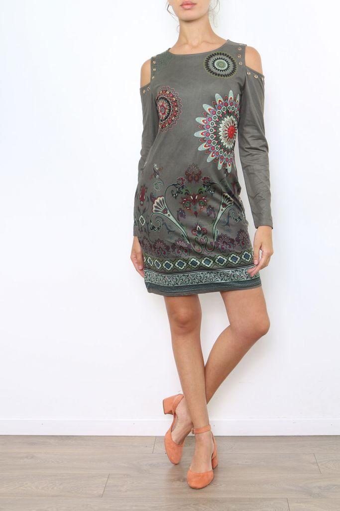 Robe courte à épaules dénudées imprimé original coloré Viky 304180