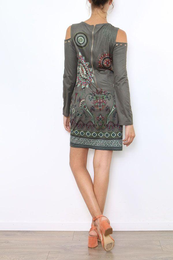 Robe courte à épaules dénudées imprimé original coloré Viky 304181