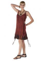 Robe courte à fines bretelles fluide marron Ivana 288178