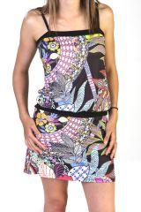 Robe courte à fines bretelles Imprimée et Originale Noire Dayita 291619