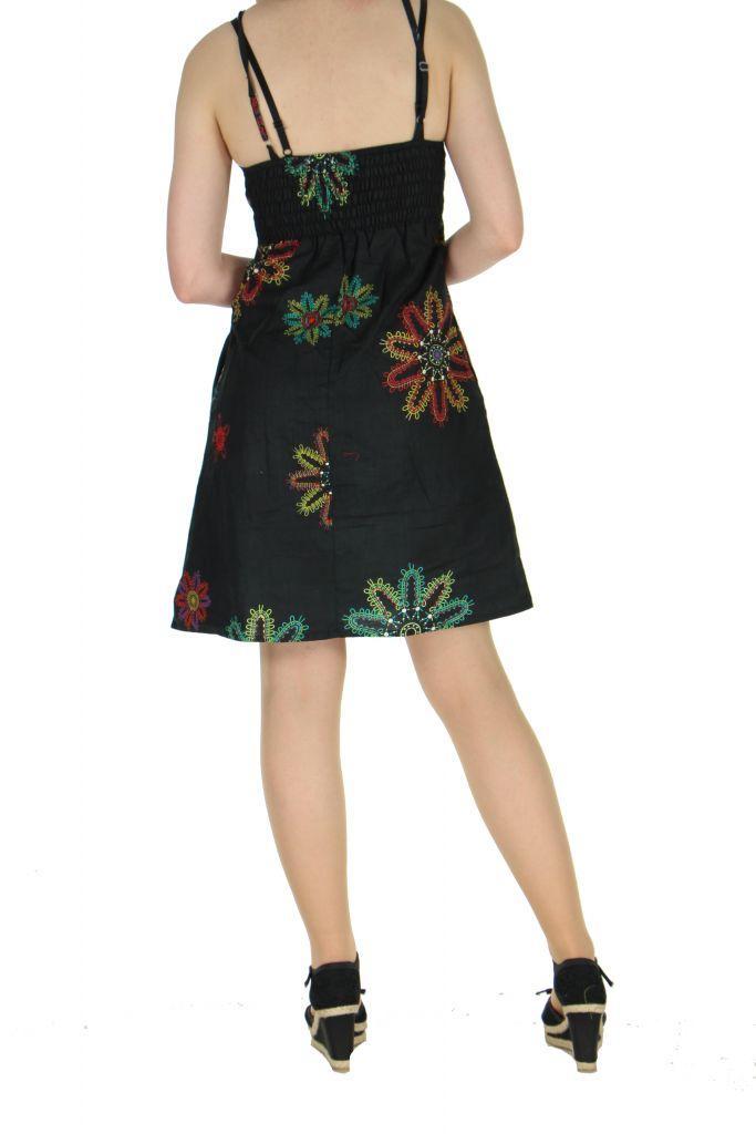 Robe courte à fines bretelles noire jodie 267657