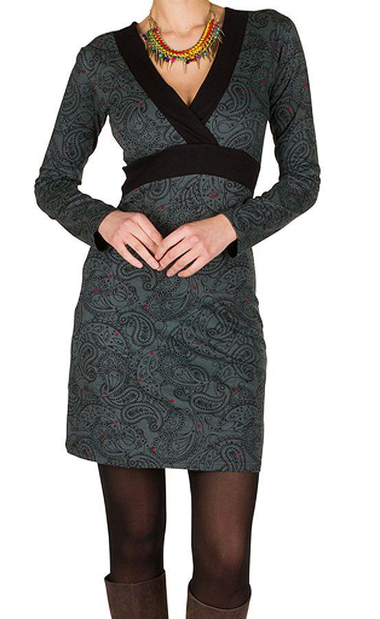 Robe courte à imprimé Paisleys et son col style cache coeur gris Omega 301706