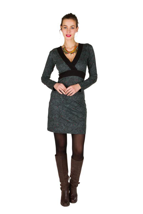 Robe courte à imprimé Paisleys et son col style cache coeur gris Omega 301708