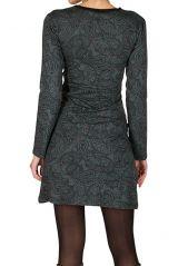 Robe courte à imprimé Paisleys et son col style cache coeur gris Omega 301710