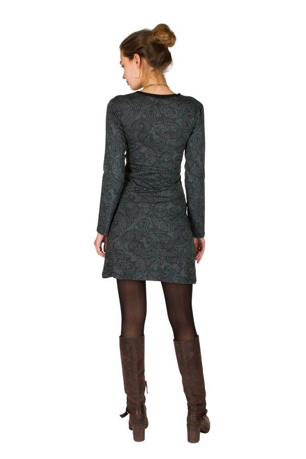 Robe courte à imprimé Paisleys et son col style cache coeur gris Omega 301715