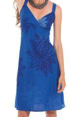 Robe courte à larges bretelles Betiana Colorée idéale Cérémonie Bleue 281565