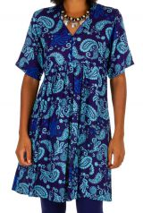 Robe courte à manches courtes style ethnique-chic Aelle 306339