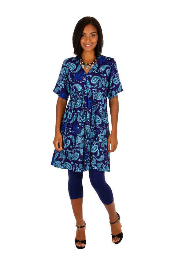 Robe courte à manches courtes style ethnique-chic Aelle 306340