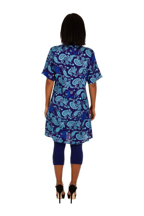 Robe courte à manches courtes style ethnique-chic Aelle 306341