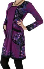 Robe courte à manches longue Stylée et Colorée Gabrielle Violette 286642