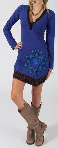 Robe courte à manches longues Chic et Ethnique Ilana Bleue 274826