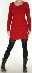 Robe courte à manches longues Colorée à col Original Assa Rouge 277947