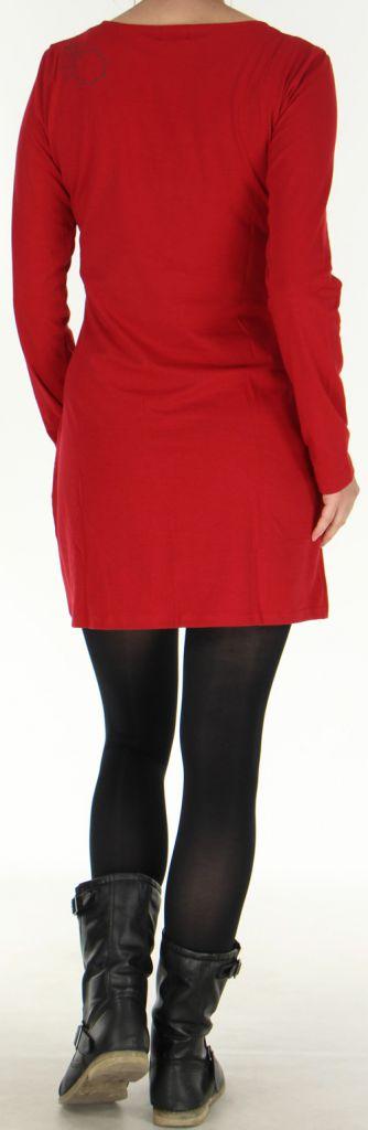 Robe courte à manches longues Colorée à col Original Assa Rouge 277948