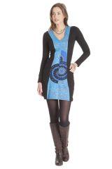 Robe courte à manches longues Colorée Bleue Abby 286389