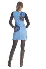 Robe courte à manches longues Colorée Bleue Abby 286390