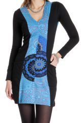 Robe courte à manches longues Colorée Bleue Abby 286655