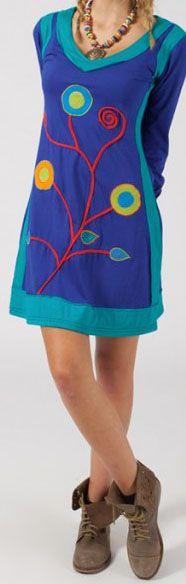Robe courte à manches longues Colorée et Ethnique Malvina 275053