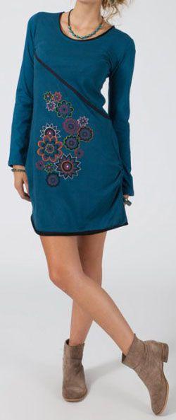 Robe courte à manches longues Colorée et Ethnique Manaya 275057