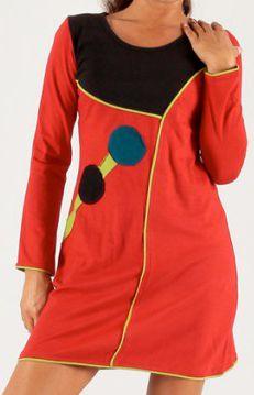 Robe courte à manches longues Colorée et Fantaisie Claudine Rouge 277907