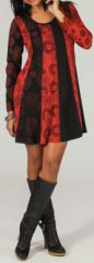 Robe courte à manches longues Colorée et Originale Rouge Tanis 274098