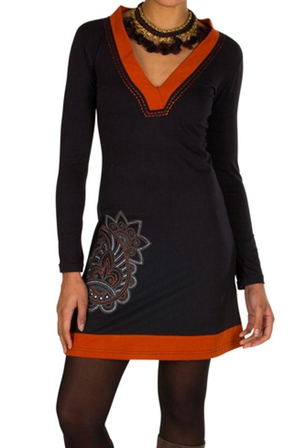 Robe courte à manches longues et col en V et imprimée orange Céleste 301101