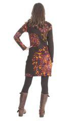 Robe courte à manches longues Ethnique Bellagia Chocolat 285413
