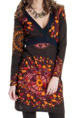 Robe courte à manches longues Ethnique Bellagia Chocolat 287141